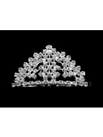 Tiara with a Rhinestone Base and Lines and Curves of Rhinestones