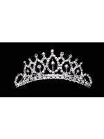 Tiara with Rhinestone Base with an Oval Design with Single Rhinestone on Top
