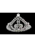 Tiara with Three Middle Crystals with Rhinestone and Curved Arcs Going Up to a Crystal