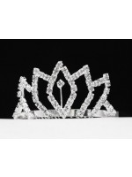 Crown Like Tiara with a Rhinestone Rhombus Design