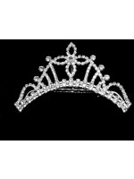 """Tiara with Rhinestoned Lines and a Center Rhinestoned """"T"""""""