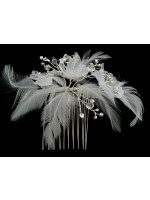 Feathers and Flower Comb with Rhinestone Accents