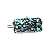 Metal Flowers with Branches Barrette and Baby Blue Stones