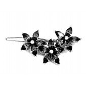 Three Flower Barrette with Crystal Leaves