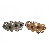 Hair Clip with Two Rhinestone Flowers and Swirls with Flowers