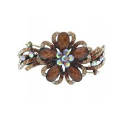 Brown Teardrop Rhinestone Flower Hair Clip with Rhinestone Lines