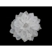 Hair Clip with Large Cloth Flower with Rhinestones