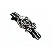 Hair Clip with a Rhinestone Flower and Circles with Lines