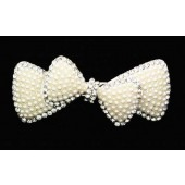 Pearled Double Bow Hair Clip