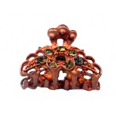 Copper Claw with Large Rhinestoned Flower