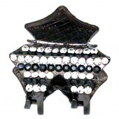 Claw with Single Rows of White and Black Rhinestones