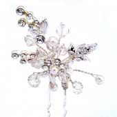 Bead and Rhinestone Flower with Extending Wires Hair Pin