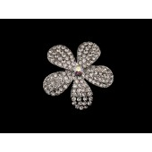 Hair Pin with a Five Rhinestone Petaled Flower and a Crystal