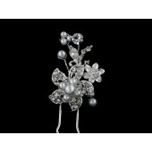 Pearl Centered Flower with Stem Pearls Hair Pin