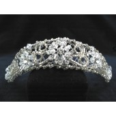 Tiara with Swirl Beads and Rhinestone Centered Flowers with Crystals and Rhinestone