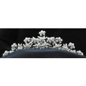 Tiara with Three Rows of Flowers with Multiple Rhinestones