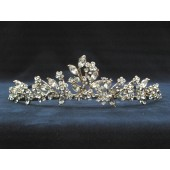 Tiara with Crystal and Rhinestone Vines and Flowers with Leaves