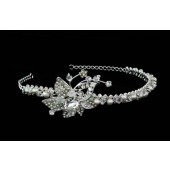 Tiara with Large Crystal Centered Flower with Stems and Rhinestones